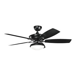 """Kichler - Coastal 52"""" Kichler Canfield Climates™ Black Outdoor Ceiling Fan - Sleek and handsome this outdoor ceiling fan is classic and unadorned. A satin black finish motor is paired with matching satin black all weather ABS blades for a cooling breeze during hotter weather. An opal glass light kit adds warm illumination. From the Kichler Canfield Climates collection of ceiling fans. Satin black motor finish. Five satin black finish all weather ABS blades. 52"""" blade span. 14 degree blade pitch. 188x25mm motor size. Pull chain operation. Optional cool touch remote control (Sold separately). Integrated satin black light. Includes one 18 watt GU24 CFL bulb. Opal glass. Light kit is 11"""" wide 4 1/2"""" high. Fan is 11 1/4"""" high from ceiling to blade. Fan is 13"""" high from ceiling to bottom of switch housing. (IMAP)  Satin black motor finish.  Five satin black finish all weather ABS blades.  52"""" blade span.  14 degree blade pitch.  Climates™ construction withstands saltwater spray and extreme temperatures.  Ideal for coastal areas.  188x25mm motor size.  Wet rated.  Pull chain operation.  Optional cool touch remote control (sold separately).  Integrated satin black light kit.  From the Kichler lighting collection.  Includes one 18 watt GU24 CFL bulb.  Opal glass.  Light kit is 11"""" wide 4 1/2"""" high.  Fan is 11 1/4"""" high from ceiling to blade.  Fan is 13"""" high from ceiling to bottom of switch housing."""