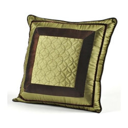 Green Geometric Pillow - Beautifully detailed with embroidered designs and piping on the edges, this beautiful green pillow would make a lovely accent pillow for a bed, chair or sofa.  Buy two for a larger impact in your room.