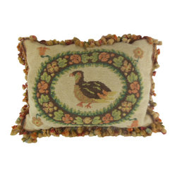 """www.pillowtalkdirect.com - 16"""" x 20"""" Old Pheasant Needlework Pillow - 16"""" x 20"""" Old pheasant needlework. Antique wool fringe, backed with gold velour. Small dirt mark on back, but very charming."""