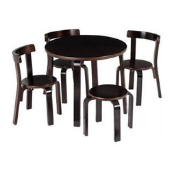 Anka by Svan Mini Furniture Table and Chair Set - For a small table option that your kids will love (and a modern design that you will love), this table and chair set in a dark classic finish will please everyone. The sleek design and sturdy construction will let this set be passed down from generation to generation.