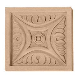 """Ekena Millwork - 3 1/2""""W x 3 1/2""""H x 3/4""""D Medium Middlesbrough Rosette, Alder - 3 1/2""""W x 3 1/2""""H x 3/4""""D Medium Middlesbrough Rosette, Alder. Our rosettes are the perfect accent pieces to cabinetry, furniture, fireplace mantels, ceilings, and more. Each pattern is carefully crafted after traditional and historical designs. Each piece comes factory primed and ready for your paint. They can install simply with traditional adhesives and finishing nails."""