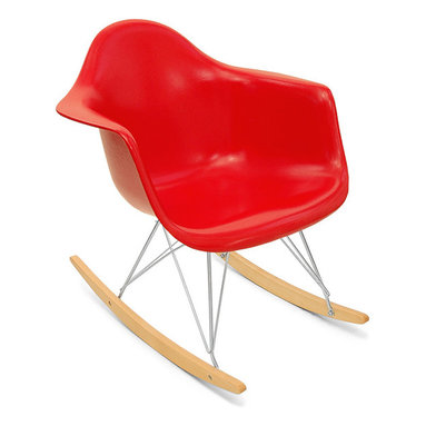 Modernica Arm Shell Rocker - The Modernica Case Study Fiberglass Rocking Chair is an essential for the modern home and with so many options—it is possible to create your own one-of-a-kind chair. The shell is available in a myriad of colors. Choose your wire-frame in either zinc-plated steel or black powder-coated steel, and finish your design by choosing either solid maple runners or solid walnut runners.