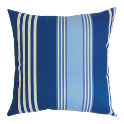 """The Pillow Collection - Vanhorn Stripes Pillow Blue 18"""" x 18"""" - Reinvent your interiors with a fresh looking decor piece like this accent pillow. A modern palette with shades of blue, aqua and white highlight the vertical stripe pattern in this square pillow. Toss this 18"""" pillow on top of your bed, couch or seat for added comfort and dimension. Pair this decor pillow with a matching pattern or solids for a lovely contrast. Made from 100% high-quality cotton fabric. Hidden zipper closure for easy cover removal.  Knife edge finish on all four sides.  Reversible pillow with the same fabric on the back side.  Spot cleaning suggested."""