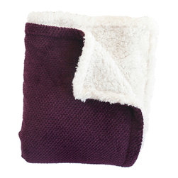 Woven Workz - Shelley Purple Super Soft Melange Waffle Throw - Take this stylish throw to the bed, couch, porch - anywhere you want to kick back and relax. Its irresistable texture will add definition to any room. Super soft melange waffle throw on one side, with a faux shearling on the reverse. The perfect throw to cuddle up in.