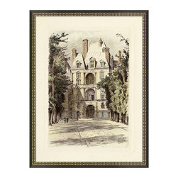 Frontgate - Versailles Gardens 1 Wall Art - Let historic French chateaux scenes come to life on your wall. Our reproductions of hand-tinted lithographs are sure to add a little je ne sais quoi to an office, foyer, or any room fit for a francophile. Versailles Garden 1 Wall Art can be showcased individually or in a complete set of four.Each handsome reproduction of an artist's original hand-colored engraving is sold separately. Giclee printing ensures the highest resolution quality and spectacular color fidelity. Aged ivory background gives the appearance of an heirloom piece. Black frame features a double border of golden beading. Arrives ready to hang.