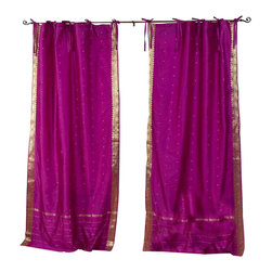 Indian Selections - Pair of Violet Red Tie Top Sheer Sari Curtains, 43 X 63 In. - Size of each curtain: 43 Inches wide X 63 Inches drop.