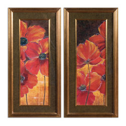 Uttermost - Midnight Poppy Floral Art Set of 2 - These beautiful, vivacious poppies are already framed in gold and have black, taupe and gold marble matting. All you have to do is hang them where you need a vibrant, lively reminder of nature at her finest.