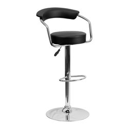 Flash Furniture - Flash Furniture Barstools Residential Barstools X-GG-KB-0601-3CT-HC - This dual purpose stool easily adjusts from counter to bar height. This retro style stool with arms will look great around the bar or kitchen. The easy to clean vinyl upholstery is an added bonus when stool is used regularly. The height adjustable swivel seat adjusts from counter to bar height with the handle located below the seat. The chrome footrest supports your feet while also providing a contemporary chic design. [CH-TC3-1060-BK-GG]