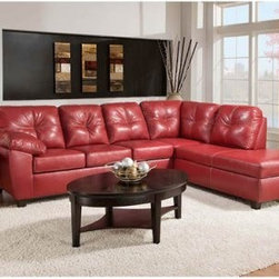 American Furniture Thomas Leather Sectional Sofa with Chaise - Cardinal - Break out the popcorn and gather everyone for movie night, the American Furniture Thomas Leather Sectional Sofa with Chaise - Cardinal has plenty of room for the whole crew. The durable and ultra comfortable hardwood frame is upholstered in a supple and classic cardinal bonded leather for a look that's as charming as it feels. Furnish your entire space in style that will last.