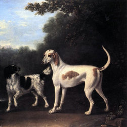 """John Wootton Two of the Duchess of Marlborough's Dogs Print - 16"""" x 16"""" John Wootton Two of the Duchess of Marlborough's Dogs premium archival print reproduced to meet museum quality standards. Our museum quality archival prints are produced using high-precision print technology for a more accurate reproduction printed on high quality, heavyweight matte presentation paper with fade-resistant, archival inks. Our progressive business model allows us to offer works of art to you at the best wholesale pricing, significantly less than art gallery prices, affordable to all. This line of artwork is produced with extra white border space (if you choose to have it framed, for your framer to work with to frame properly or utilize a larger mat and/or frame).  We present a comprehensive collection of exceptional art reproductions byJohn Wootton."""