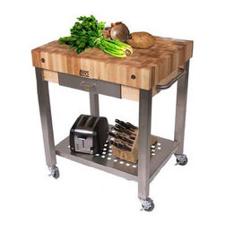 "John Boos - Cucina Americana Technica Kitchen Cart with Butcher Block Top - Features: -Cucina Americana collection. -Solid hard maple construction. -Food service grade stainless steel shelf. -Stainless steel towel bar. -Commercial grade 3"" locking casters. -Stands 35"" H. -Note: If this product is purchased along with a non-quick ship product, the shipping date will be delayed so that both products arrive together. Customize your Cutting Board -30"" W x 24"" D x 35"" H (4"" block). -30"" W x 24"" D x 35"" H (2.25"" block). John Boos: A Commitment to Eco-Friendly Practices: John Boos & Co is firmly committed to managing environmental matters as an integral part of their business practice. It is their policy to ensure the environmental integrity and consideration of their processes and facilities at all times. They maintain a high standard of recognition in treating our environment with respect while manufacturing their products. Some of the steps they take to keep this promise include: -Using only formaldehyde-free and low-emission formaldehyde gluing processes in manufacturing their butcher blocks. -Selecting individual trees for harvest, encouraging forests to renew and regenerate themselves naturally and prolifically. -Maintaining active recycling programs, with 95% of all raw materials, scrap, and sawdust being recycled as fuel to heat their kilns. With John Boos, the truth is black and white: they're green!"