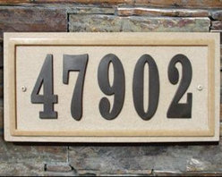 """Qualarc, Inc. - Ridgestone Crushed Stone Address Plaque """"Do it yourself kit"""", Rectangle Slate - Made with real crushed stone the Ridgestone plaques feature a rich stone textured background with polished border. Uv and weather resistant, with color all throughout material. Plaques include large 4"""" raised polymer numbers 0-9 twice in the box along with a tube of adhesive glue, number template and mounting hardware. Product ships within 3-5 business days. Dimensions: 13-1/2 x 7"""""""