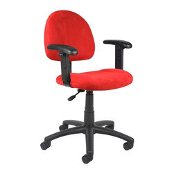 BossChair - Boss Red Microfiber Deluxe Posture Chair with Adjustable Arms. - Thick padded seat and back with built-in lumbar support. Waterfall seat reduces stress to legs. Adjustable back depth. Pneumatic seat height adjustment. 5 star nylon base allows smooth movement and stability. Hooded double wheel casters. Comes in durable easy to clean microfiber. Available in 4 fabric colors. With adjustable arms.