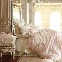 """Pom Pom at Home - Pom Pom at Home King Celeste Sham - Pink and cream """"Celeste"""" duvet covers and shams are enhanced with delicate embroidery and 4"""" voile ruffles. Dust skirt has an 18"""" drop. Pink """"Sofia"""" floral European shams have frayed edges. All of pure linen. By Pom Pom at Home. We added """"Rous..."""