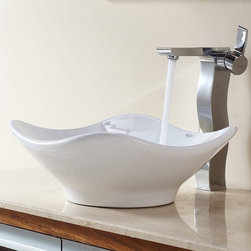 Kraus - Kraus White Tulip Ceramic Sink and Sonus Faucet - Add a touch of elegance to your bathroom with a ceramic sink combo from Kraus.