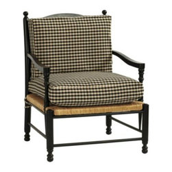 Toulon Chair - If I ever own a cottage in France, this is the chair I want to be nestled in by my fire. The black check fabric pairs perfectly with the French Provincial style.