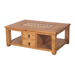 Marble And Pine Rustic Coffee Table- 2 Sided - Two sided drawers make this rustic design a Big favorite. Marble inlay and Solid wood construction.