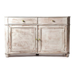 The Factory Girl Angel Server by Clay Silver - I love the shabby chic look of this whitewashed server. The color makes a larger piece less daunting in a room, don't you think?