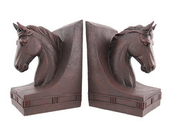 Zeckos - Rustic Antique Finished Horse Head Bookends Equestrian - This pair of gorgeous horse head bookends is the perfect gift for horse lovers. Made of cold cast resin, they have a dark brown, rust-like finish, that gives them an antique look. Each bookend measures 7 3/4 inches tall, 5 1/8 inches wide and 4 1/2 inches deep. This pair also makes a great present for the holidays or for housewarming gifts. They look great on bookshelves and on top of desks or tables.