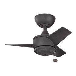"Kichler - Yur 24"" Ceiling Fan Distressed Black - Kichler Yur Model KL-310124DBK in Distressed Black with All Weather Polycarbonate Distressed Black Finished Blades."