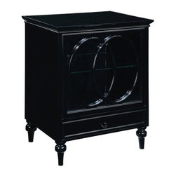 Bailey Street - Cassini Glass Front Accent Cabinet w Drawer in Black Finish - Multi-purpose cabinet. Cut oval pattern on full glass front door. Convenient drawer and glass shelf under cabinet space. Made from plantation grown hardwoods, other wood products, metal and glass. 24 in. W x 18 in. D x 32 in. H