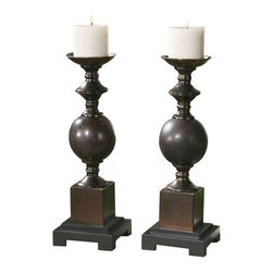 Uttermost Marcie Candleholders, S/2 - Mingled red rust and aged black ceramic with copper bronze metal accents. Distressed beige candles included. Mingled red rust and aged black ceramic with copper bronze metal accents. Distressed beige candles included.
