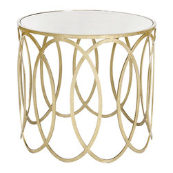 Worlds Away - Worlds Away Silver Leafed Ovals Side Table with Mirror Top OLIVIA S - Worlds Away Silver Leafed Ovals Side Table with Mirror Top OLIVIA S