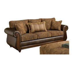 Chelsea Home - Oneida Sofa with 2-Pillows - Traditional style. Sofa with tobacco cover. Pillows with teton onyx cover. Attached back cushions. 100 % poly upholstery. Medium seating comfort. Double springs on the ends nearest the arms for balanced seating. Sinuous springing system for uniform seating. Reinforced 16-gauge border wired system. Long lasting and solid kiln dried hardwood frame. Made in USA. No assembly required. 90 in. L x 37 in. W x 41 in. H (120 lbs.)