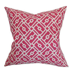 Pillow Collection - The Pillow Collection Majkin Geometric Pillow - P18-D-21050-AZALEA-C100 - Shop for Pillows from Hayneedle.com! Connect the dots in The Pillow Collection Majkin Geometric Pillow to form the picture of your stylish space. Made of 100% high-quality cotton this stunning square pillow features a plush 95/5 feather/down insert for the ultimate softness. A unique modern geometric print is available in your choice of color options so you can get the perfect look.About The Pillow CollectionIdentical twin brothers Adam and Kyle started The Pillow Collection with a simple objective. They wanted to create an extensive selection of beautiful and affordable throw pillows. Their father is a renowned interior designer and they developed a deep appreciation of style from him. They hand select all fabrics to find the perfect cottons linens damasks and silks in a variety of colors patterns and designs. Standard features include hidden full-length zippers and luxurious high polyester fiber or down blended inserts. At The Pillow Collection they know that a throw pillow makes a room.