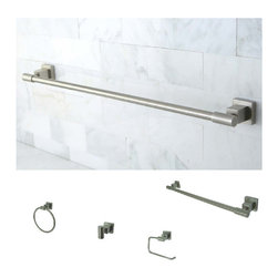 None - Satin Nickel 4-piece Bathroom Accessory Set - Bring your bathroom back to life with this 4-piece bathroom accessory set. Its non-corrosive, solid brass construction is built to last and is finished in gorgeous satin nickel. This set is convenient to install with all mounting hardware included.