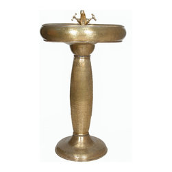 Exotic Moroccan Sinks - Hand Painted - A built-in Brass wash basin coming in a elaborate design. The round bowl is skillfully hammered by a master Moroccan artisan. In the photograph you will notice a delicate pattern obtained by precise forging with a hammer. The product is highly durable and practical, it is suitable for all interiors due to its simple form and uniform color.