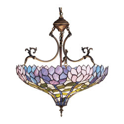 Meyda Tiffany - Meyda Tiffany Pendants Inverted Pendant Light in Copperfoil - Shown in picture: Wisteria Inverted Pendant; Stylized Wisteria Flower Clusters Of China Pink - Grape And Amethyst Blue With Jade Green Leaves Drape Over This Ivory Toned Graceful Copper Foil Inverted Pendant Shade. The Classic Styling Of This Tiffany Style Stained Glass Fixture And Soft Pastel Colors Will Add Charm To Any Room.; Smallest height shown - expandable from 27-62.