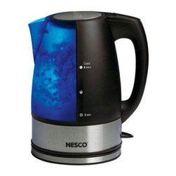 Metal Ware Corp. - Nesco Electric Water Kettle - Nesco WK-64 Full 2 Liter Capacity Electric Water Kettle. Features 1,500 Watts of power to boil faster. Conserve energy. Blue backlit power indicator. Three way auto shut off and boil dry protection. Illuminated water level. Cordless design let's you remove from base for serving. Removable / washable filter. Use at home or away for tea, coffee, cereals, boxed foods, etc.