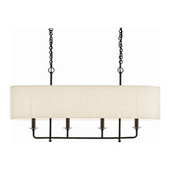 Arteriors - Beatty Chandelier, Light Beige Linen Oval Shade - Illuminate your favorite setting with this elegant fixture, finished in your choice of antique silver or dark bronze. Descending from a pair of chains, it features a smooth oval shade.