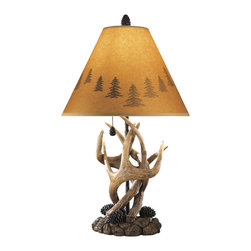 "Signature Design by Ashley - 24"" Derek Set of 2 of Rustic Antlers & Pine - A set of two: Wildlife table lamps featuring a rustic antler and pinecone base and a silhouette shade trimmed with evergreen trees."