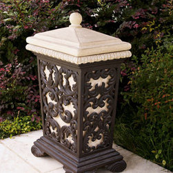 """Horchow - Leaf Scroll Trash Receptacle - Leaf-scroll trash receptacle features an aged limestone and dark brown finish. Made of lightweight and durable materials so it moves easily, adding to its versatility. Handcrafted of crushed stone, polyester resin, styrene, and fiberglass. 18""""W x 12""""D x..."""