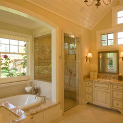 Stunning Bathroom - Featuring Marvin windows above the bath, this stunning bathroom was designed by Duxbury Architects and built by  Komo Construction.