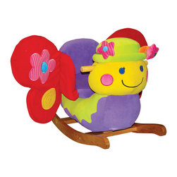 Charm Co. - Butterfly Rocker with Sound - The bright and colorful Charm Butterfly Rocker will delight your kids with endless hours of play. Squeeze the butterfly's antenna, and they can sing (or hum!) along to classical music. Its sunny, soft, plush coat is complemented with a sturdy wooden frame, which has a natural, non-toxic finish, and a solid built-in seat and back.