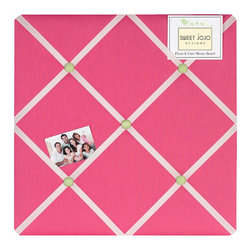 Sweet Jojo Designs - Pink and Green Flower Fabric Memo Board - The Pink and Green Flower Fabric Memo Board with button detail is a great way to display photos, notes, and postcards on your child's wall. Just slip your mementos behind the grosgrain ribbon to create an engaging piece of original wall art. This adorable memo board by Sweet Jojo Designs is the perfect accessory for the matching children's bedding set.