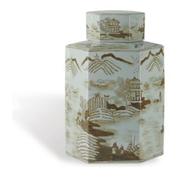 Port 68 - Canton Brown Jar - Set this hand-painted porcelain jar atop an entryway table or mantelpiece to create a simple, but striking look. Painted in pale blues and soft browns, the Canton Brown Jar features a rural Asian landscape and is the perfect decorative addition to any modern or Asian decor.