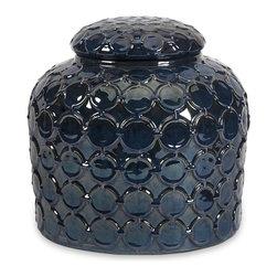 iMax - iMax Howell Indigo Jar X-59152 - The Howell Indigo Jar's circular pattern attracts the viewer's eye, adding a refreshing coolness.