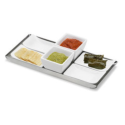 Blomus - ESTO Finger Food Set - First impressions make a lasting impact, and with the ESTO Finger Food Set, you'll have your guests drooling over your table before they've even sat down to eat. Each set includes 6 porcelain serving dishes - perfect for offering a variety of finger foods and condiments, on a stylish, stainless steel tray.