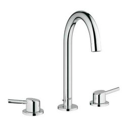 Grohe - Grohe 20217001 Starlight Chrome Concetto New Concetto Widespread - Product Features:Faucet body constructed of solid brassCovered under Grohe s limited lifetime warrantyGrohe faucets are exclusively engineered in GermanyFinishes will resist corrosion and tarnishing through everyday use - finish covered under lifetime warrantyStainless steel braided flexible suppliesDouble handle operation - handles rest on 1/4 turn valvesADA compliant - complies with the standards set froth by the Americans with Disabilities Act for bathroom faucetsLow lead compliant - meeting federal and stat regulations for lead contentWaterSense Certified product - using at least 30% less water than standard 2.2 GPM faucets, while still meeting strict performance guidelinesDesigned for use with standard U.S. plumbing connectionsProduct Technologies / Benefits:Starlight Finish: Continuously improving over the last 70 years GroheÂ's unique plating process has been refined to produce and immaculate shiny surface that is recognized as one of the best surface finishes the world over. Grohe plates sub layers of copper and/or nickel to ensure that a completely non-porous, immaculate surface awaits the chrome layer. This deep, even layered chrome surface creates a luminous and mirror like sheen.SilkMove Cartridge: The rich and smooth handling of our single lever faucets conveys pure quality. As you change the temperature from hot to cold, one ceramic disc glides effortlessly across the other with absolute precision. These cartridges are manufactured in a high-tech process and feature discs made from a space-proven ceramic alloy. The SilkMove cartridge is yet another example of design and technology fusing to bring you an enhanced water experience.Grohe WaterCare: With the constant challenge of providing faucets that perform to the highest standards while lea