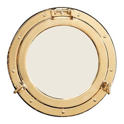 """11.5"""" Polished Brass Porthole Mirror - This eye catching brass porthole mirror opens just like an actual porthole. It measures 11.5""""Dia. overall and 8""""Dia. for the mirror itself. We are a retailor and do not deal with the installation process. The manufacturer does not supply any parts with this item. The only item being sold is the porthole mirror itself as pictured. It will add a definite nautical touch to whatever room it is placed in and is a must have for those who appreciate high quality nautical decor. It makes a great gift, impressive decoration  will be admired by all those who love the sea."""