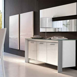Miami Three Door Glass Buffet By Tonin Casa - Transform your home into pure glamour with the Miami Three Door Buffet,which features brilliant glass doors with a sturdy aluminum frame. Store and display your tabletop accessories in a truly modern style only found in Italian design and workmanship.