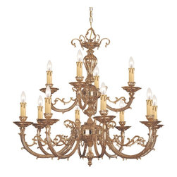 Crystorama - Crystorama Etta Collection 2 Tier Chandelier in Olde Brass - Shown in picture: Ornate Cast Brass Chandelier; Give your home some old world charm with this ornate cast brass chandelier in Olde Brass from the Etta Collection.