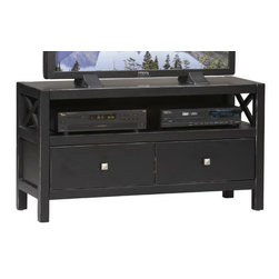 Home Decorators Collection - Anna Media Center - With 2 open storage areas and 2 drawers, this TV stand will help your media room stay organized and looking great. Its contemporary design makes it a great place to showcase your TV. Order now.Features a quality-crafted wood construction for years of enjoyment.In a popular antique black finish for added beauty and protection.