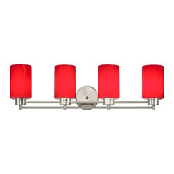 Design Classics Lighting - Modern Bathroom Light with Red Glass in Satin Nickel Finish - 704-09 GL1008C - Contemporary / modern satin nickel 4-light bathroom light. A socket ring may be required if installed facing down. Takes (4) 100-watt incandescent A19 bulb(s). Bulb(s) sold separately. UL listed. Damp location rated.