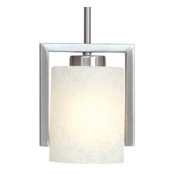 Dolan Designs Lighting - Mini-Pendant with Glacier Glass - 2241-09 - This sleek mini-pendant has a minimalist style that's perfect for any decor. The sleek, satin nickel stem structure partially frames the glacier glass and draws the eye in. Includes one 6-inch and three 12-inch stem segments with an integrated sloped ceiling adapter. Takes (1) 100-watt incandescent A19 bulb(s). Bulb(s) sold separately. UL listed. Dry location rated.