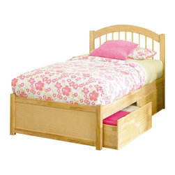 Atlantic Furniture - Atlantic Furniture Windsor Platform Bed with Flat Panel Footboard in Natural Map - Atlantic Furniture - Beds - AP9442005 - The Atlantic Furniture Windsor Platform Bed brings a smooth, romantic glow to your bedroom. The solid Asian hardwood construction of this frame ensures many years of peaceful rest. So get the rest you deserve with the Windsor Platform Bed.